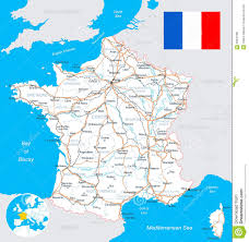 Loire Valley France Map by France Map Flag Roads Illustration Stock Vector Image 56676780
