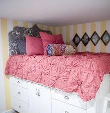 Diy Bed Platform Platform Bed With Storage Made From Kitchen Cabinets Diy