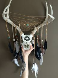 deer skull and antler dreamcatcher turquoise home decor
