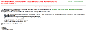 Furniture Repair And Upholstery Upholstery And Furniture Repair Sales Representative Work