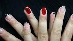 dessin sur ongle en gel passion u0027nail pose d u0027ongles en gel feuillage en rouge et noir