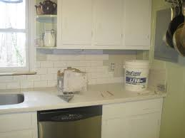 kitchen idea astounding blue glass subway tile backsplash white
