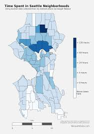 Map Of Seattle Neighborhoods by Visualizing My Location History With Python Shapely And Basemap