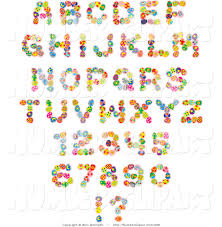 clip art of an alphabet font set of colorful easter eggs creating
