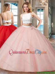 light pink quince dresses pretty gown straps tulle two backless quinceanera