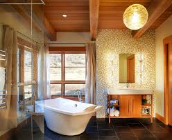 high ceiling bathroom ideas plus brown ceramic floor area home