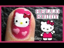hello kitty nails freehand animal cartoon nail art design