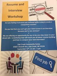 resume and interview workshop oak creek community center