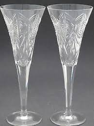 pair of signed waterford cut glass happiness butterfly toasting