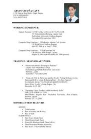 Example Resume Formats by Sample Resume Format For Fresh Graduates One Page Format Resume
