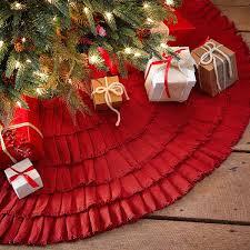 Moose Christmas Tree Skirt Amazon Com Red Burlap Ruffled Xmas Christmas Tree Skirt 48 Inches