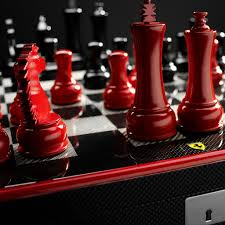 luxury ferrari chess set with carbon fiber trims