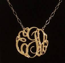 Gold Monogram Necklace Big Slim Gold Monogram Necklace Long And Short Chain