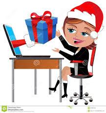 happy employee receiving gift christmas office desk stock vector