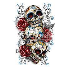 three sugar skulls and roses wildside