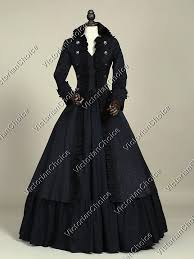 Victorian Style Halloween Costumes Black Victorian Military Coat Dress Steampunk Witch Women