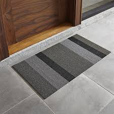 Crate And Barrel Outdoor Rug Chilewich Silver Black Striped 20 X36 Doormat In Door Mats