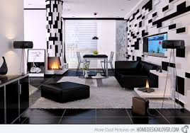 interior design black and white living room artistic color decor