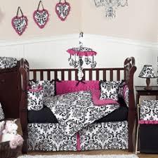 Pink And Black Crib Bedding Sets Damask Crib Bedding Set By Sweet Jojo Designs