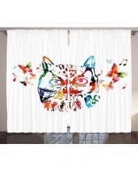 Owl Drapes Children Curtain Owl Fox Squirrel Birds Print 2 Panel Window Drapes