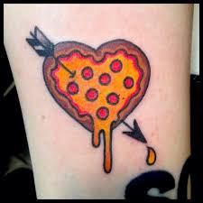 pizza heart traditional tattoo by tracy martino tattoo for my
