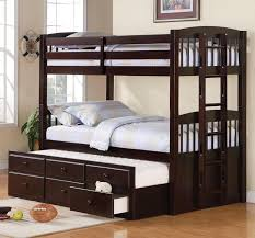 kids bedroom wooden bunk bed ideas three level and hideaway bed