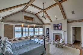 Crown Molding Vaulted Ceiling by Traditional Guest Bedroom With Ceiling Fan U0026 Exposed Beam In