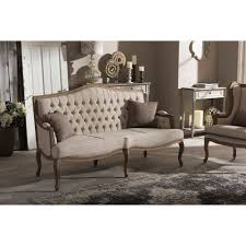 Tufted Upholstered Sofa by Baxton Studio Oliver French Provincial Style Weathered Oak Wood