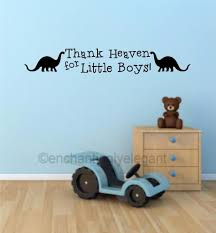 wall decals stickers home decor home furniture diy thank heaven for little boys dinosaur vinyl decal wall sticker words nursery