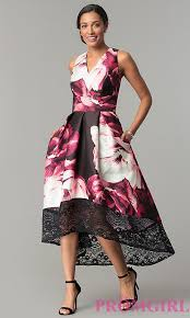 wedding guest dress satin print high low wedding guest dress promgirl