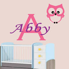 nursery wall stickers owl personalised name