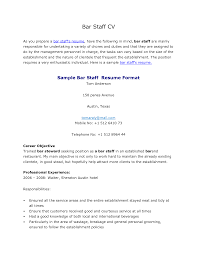 cover letter for bar work no experience job and resume template
