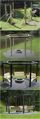 diy backyard fire pit with swing seats bunkerplans best outdoor