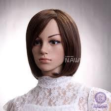 sale synthetic fiber side swept bang brown neck length