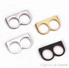 two finger name ring 2016 fashion finger rings simple style black gold silver