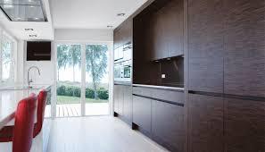 contemporary kitchen wood veneer corian island villa
