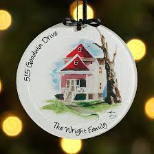 painted house glass ornament black ribbon painted houses
