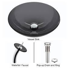 vigo glass vessel sink in sheer black with waterfall faucet set in