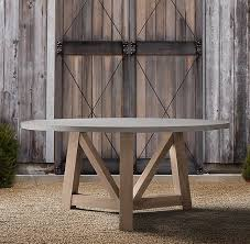 72 round outdoor dining table french beam weathered concrete teak 72 round dining table dream