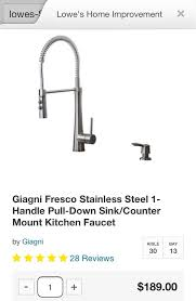 i bought the giagni fresco kitchen faucet i had the plumbers