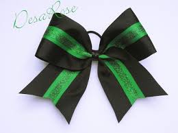 african american cheer hair bows basic cheer bow black with green glitter stripe