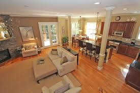 pictures of kitchen living room open floor plan wood open floor