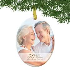 anniversary ornament glass 50th anniversary couples photo ornament