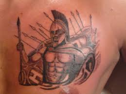 grey ink warrior on chest