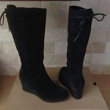 ugg australia s emalie waterproof wedge boot 7us stout brown ugg australia leather wedge knee high boots for ebay