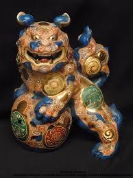 choo foo dogs white japanese kutani 24k gilt foo dog shishi lion with mythical