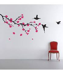 stickerskart hummingbirds and blossoms print pvc wall stickers