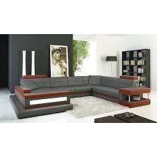 divani casa 5079 grey and dark orange leather sectional sofa
