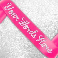 custom sash custom glitter printed satin sash