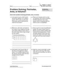 problem solving perimeter area or volume 4th 5th grade